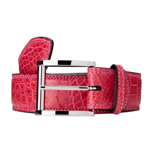Genuine Crocodile Belt (Pink)