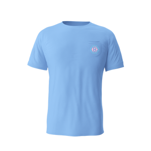 Tiki Hex B Pocket Tee (Sky Blue)