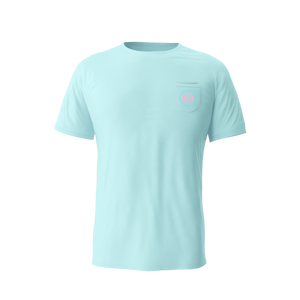 Tiki Hex B Pocket Tee (Aqua)