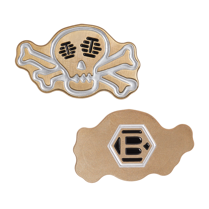 Skull & Bones Gold Flame Icon Ball Marker