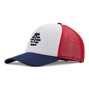 Party On! Tour Dept. Trucker Hat (Navy/Red)