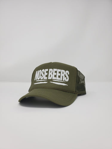 'Nose Beers' Olive Green Trucker Hat