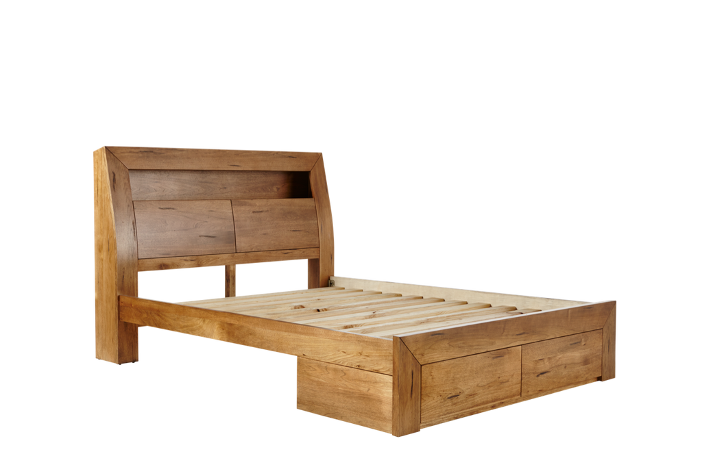Clovelly Bed Frame With Feature Headboard and 2 Drawer Base – Snooze
