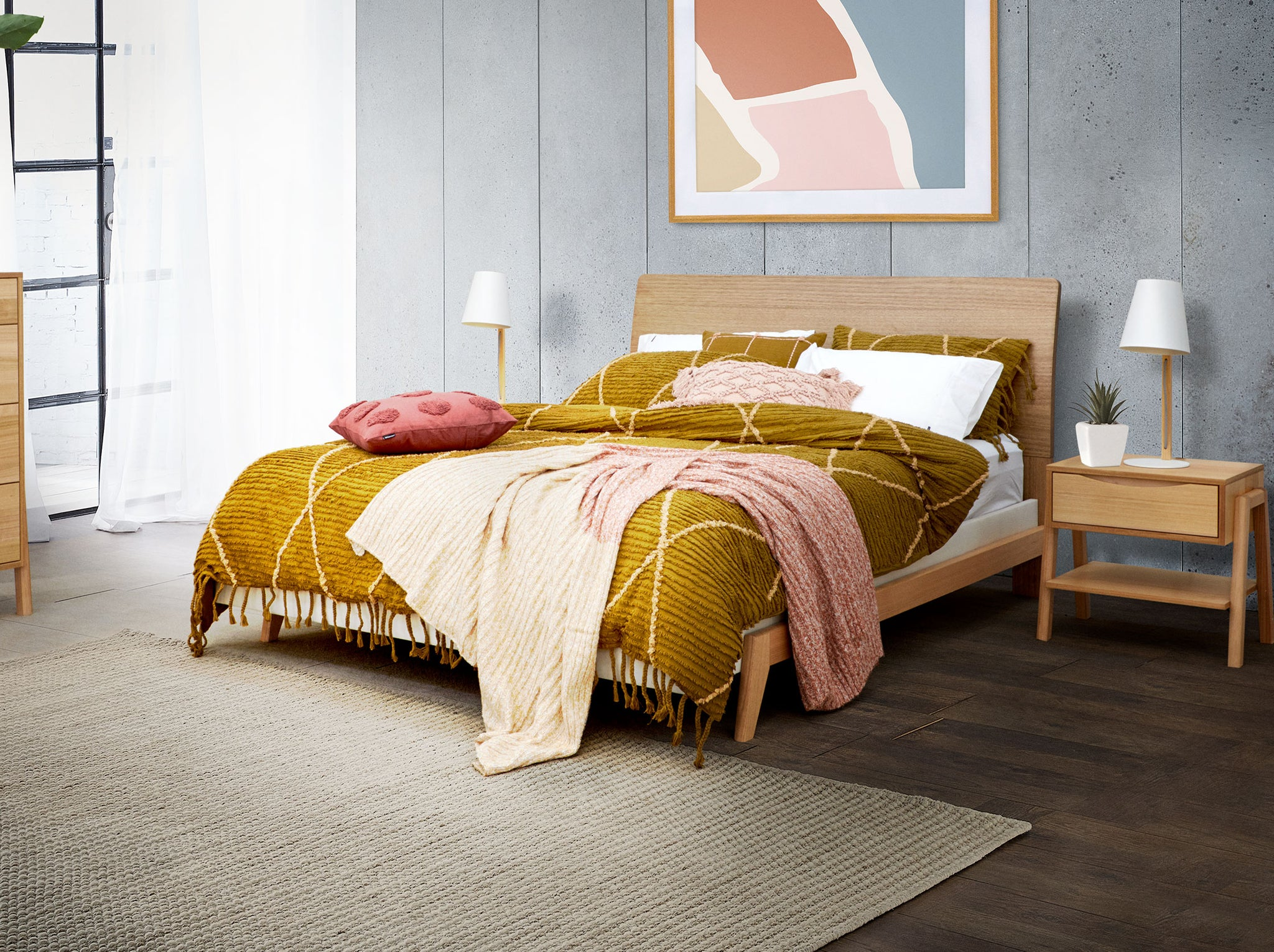 Dane Bed Frame With Timber Headboard Base Snooze