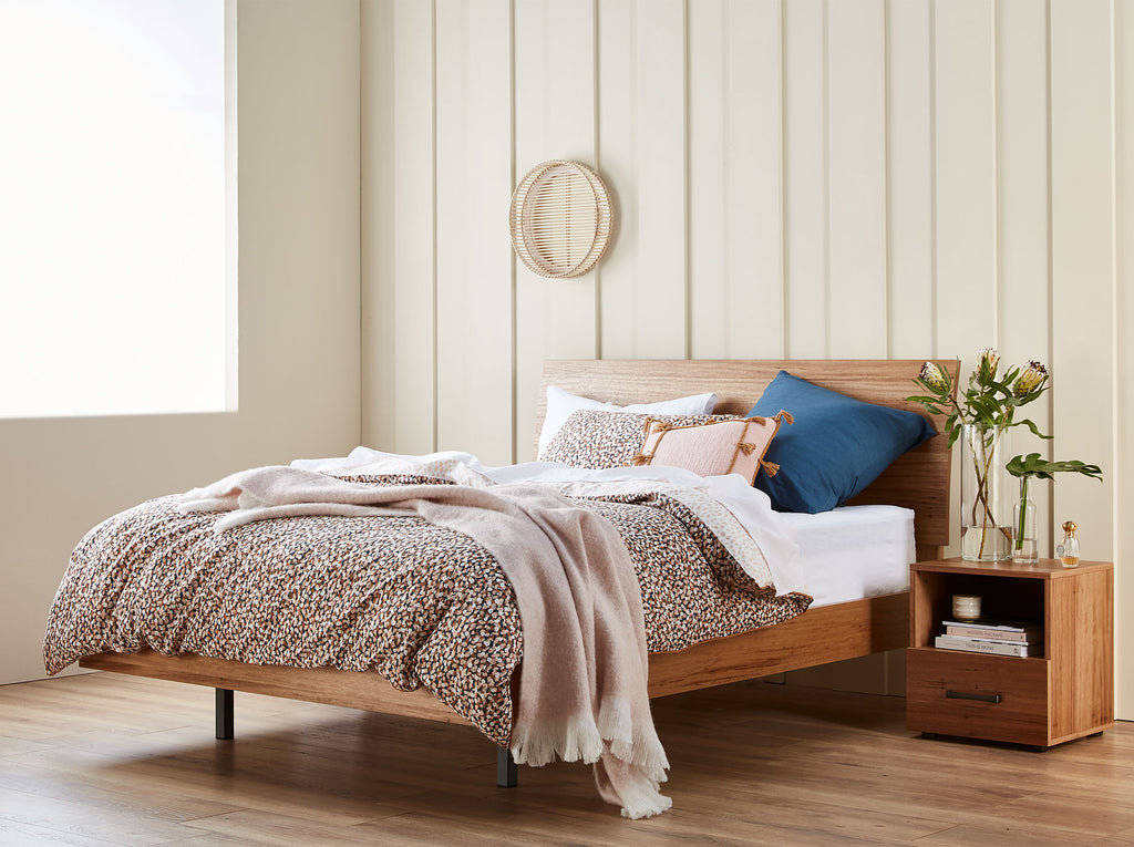 SNZ MyDesign Curved QS Bedframe Latte Lifestyle Angle 1024xogressive