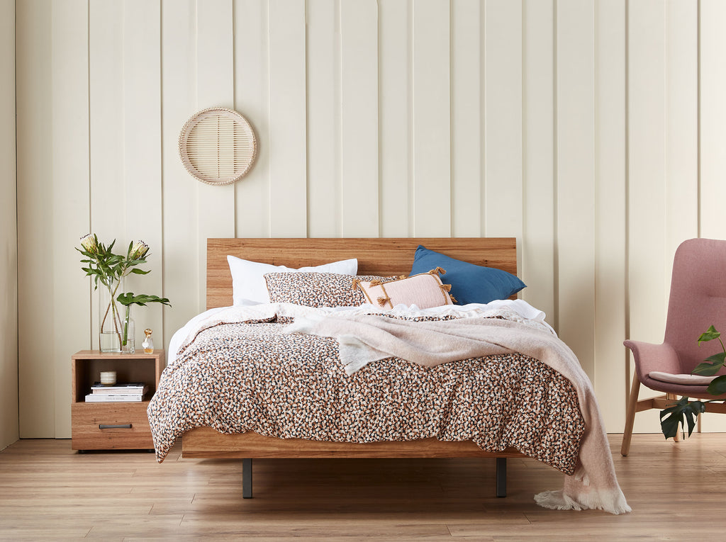 SNZ MyDesign Curved QS Bedframe Latte Lifestyle Front 1024xogressive