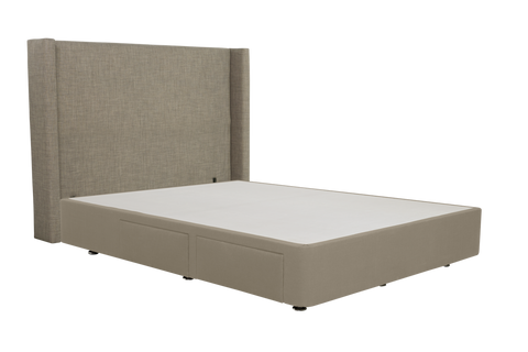 Slumberland Headboard and Base (Square, Winged Headboard & 4 Drawer Base)