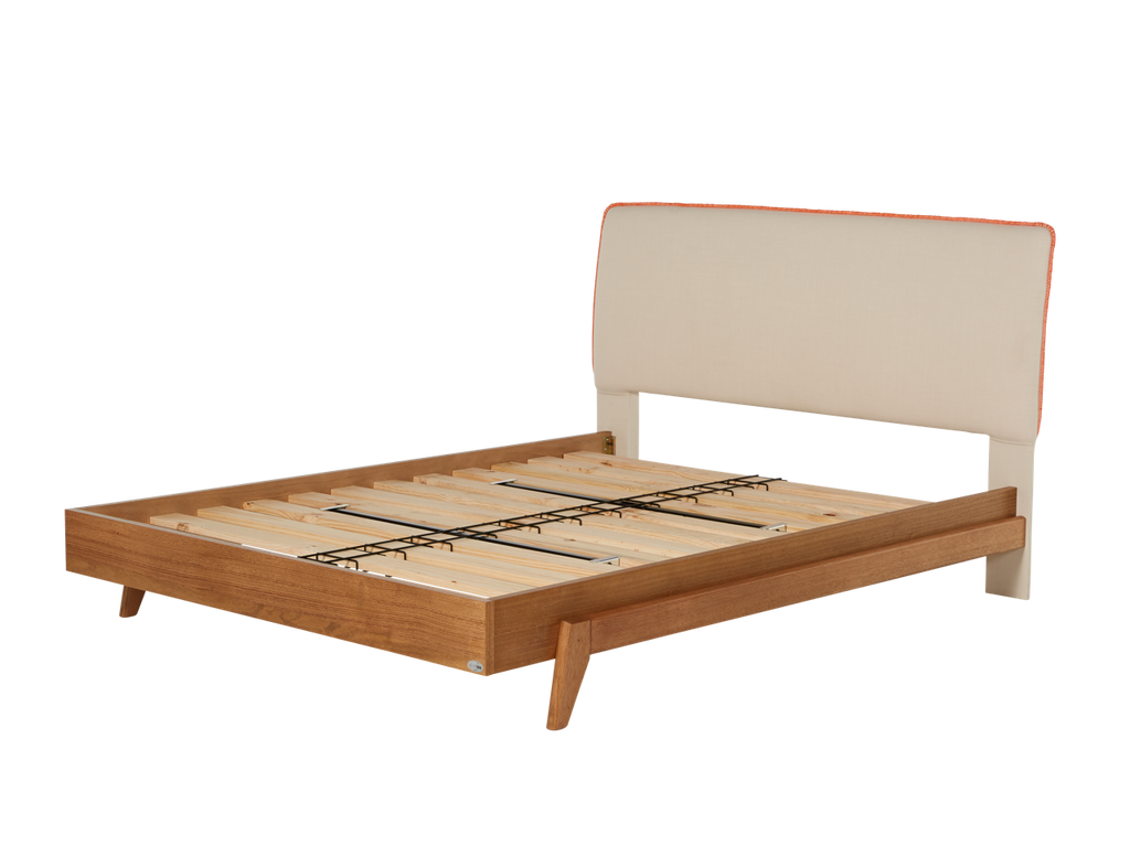 newest d8555 4b181 Dane Bed Frame with Upholstered Headboard & Timber Base