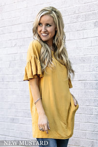 Kendra Ruffle Tunics with Pockets | Many Colors