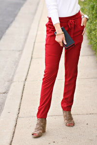 Ruffle + Tie Pant | Red