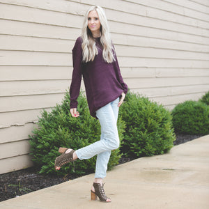 Ashley Waffle Knit Sweater | Dark Plum