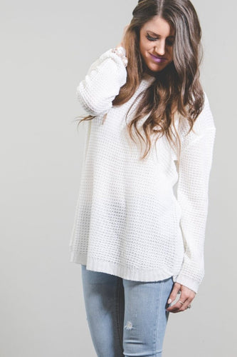 Ashley Waffle Knit Sweater | Ivory