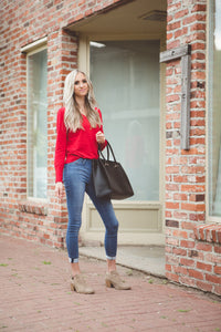 Button Sleeve V-Neck Sweater | Ruby