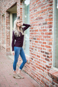 Button Sleeve V-Neck Sweater | Dark Plum