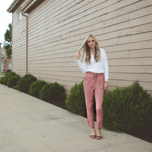 Ruffle + Tie Pant | Dusty Pink