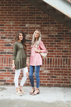 Elle Quarter Sleeve Ruffle Peplum | Dusty Rose