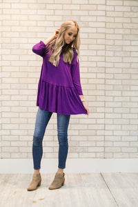 Elle Quarter Sleeve Ruffle Peplum | Purple Plum