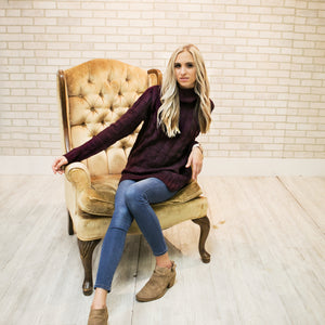 Cable Knit Sweater | Dark Plum