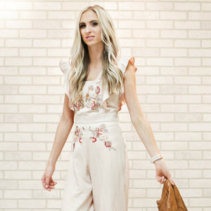 Ella Embroidered Jumpsuit | Taupe