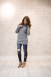 Cable Knit Sweater | Heather Gray