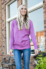 Button Sleeve V-Neck Sweater | Dark Mauve