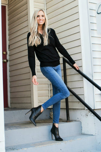 Button Sleeve V-Neck Sweater | Black
