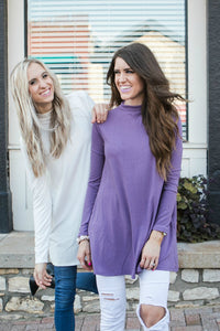 Soft Mock Neck Tunic | Lilac Gray