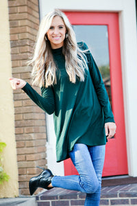Soft Mock Neck Tunic | Hunter Green