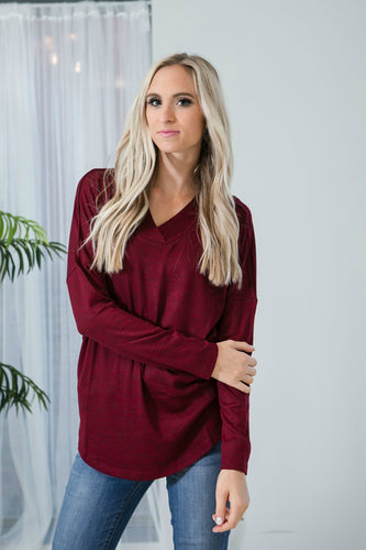 Cozy Heathered Tunic | Burgundy