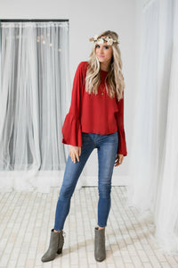 Flirty Belle Sleeve Blouse | Red