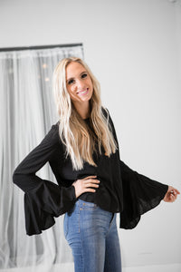 Flirty Belle Sleeve Blouse | Black