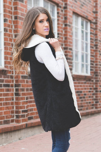 Faux Fur Hooded Vest | Black
