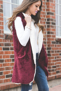 Faux Fur Hooded Vest | Burgundy