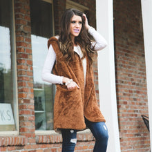 Faux Fur Hooded Vest | Camel