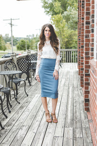 Ashley Midi Pencil Skirt | Blue Shadow