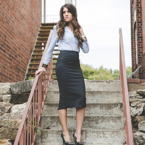 Ashley Midi Pencil Skirt | CharCoal