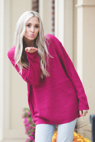 Ashley Waffle Knit Sweater | Magenta