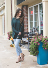 Ashley Waffle Knit Sweater | Hunter Green