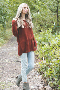 Ashley Waffle Knit Sweater | Dark Rust