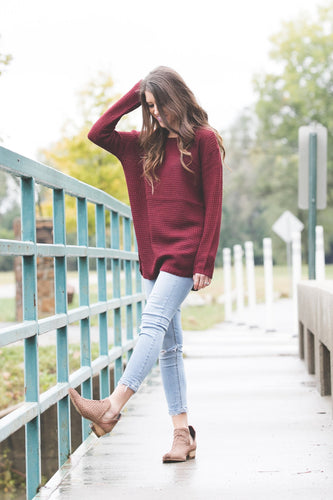 Ashley Waffle Knit Sweater | Dark Burgundy