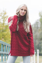 Cable Knit Sweater | Burgundy