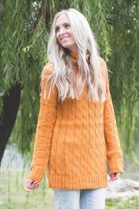 Cable Knit Sweater | Desert Mustard