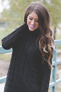 Cable Knit Sweater | Black