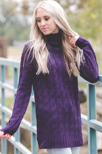 Cable Knit Sweater | Dark Purple