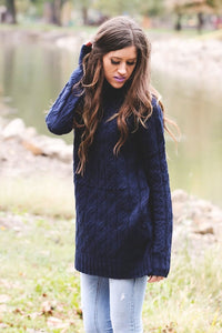 Cable Knit Sweater | Navy