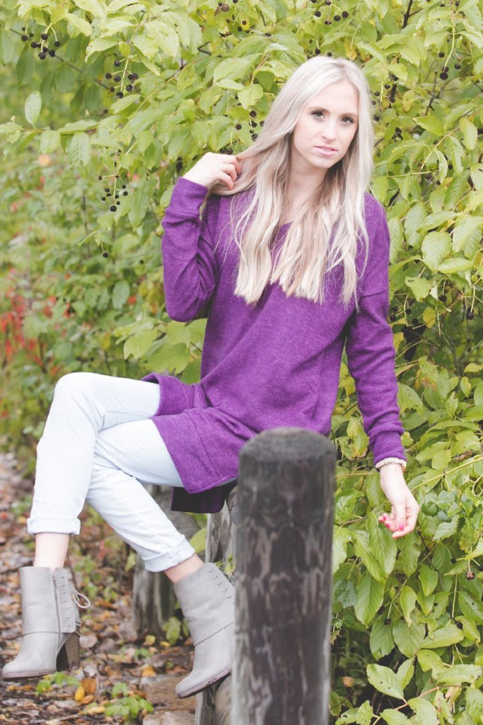 Perfect Pocket Sweater | Purple