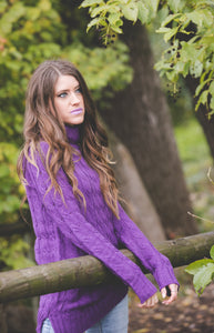 Cable Knit Sweater | Purple
