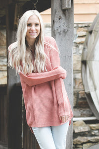 Ashley Waffle Knit Sweater | Dusty Rose
