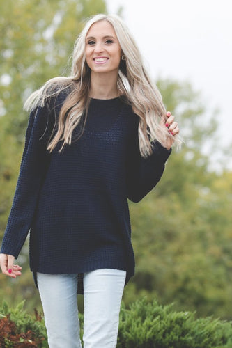 Ashley Waffle Knit Sweater | Navy