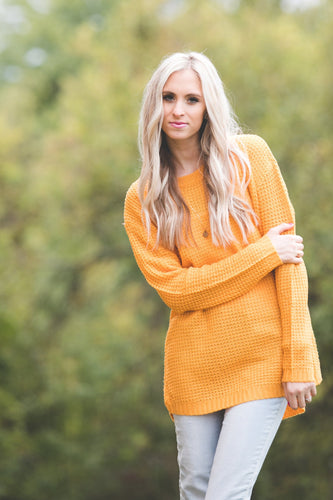 Ashley Waffle Knit Sweater | Ash Mustard